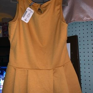 Mustard Peplum Tank with Bow Accent